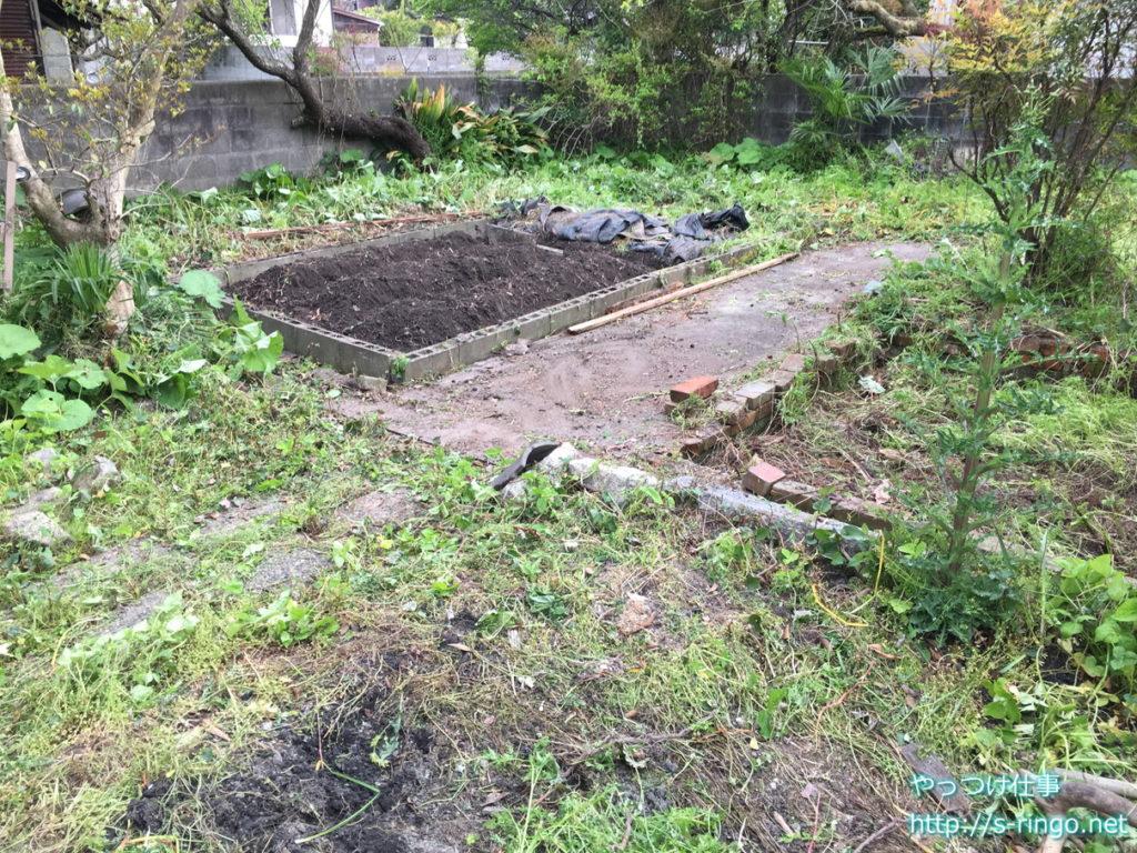 家庭菜園・一日目の作業終了図